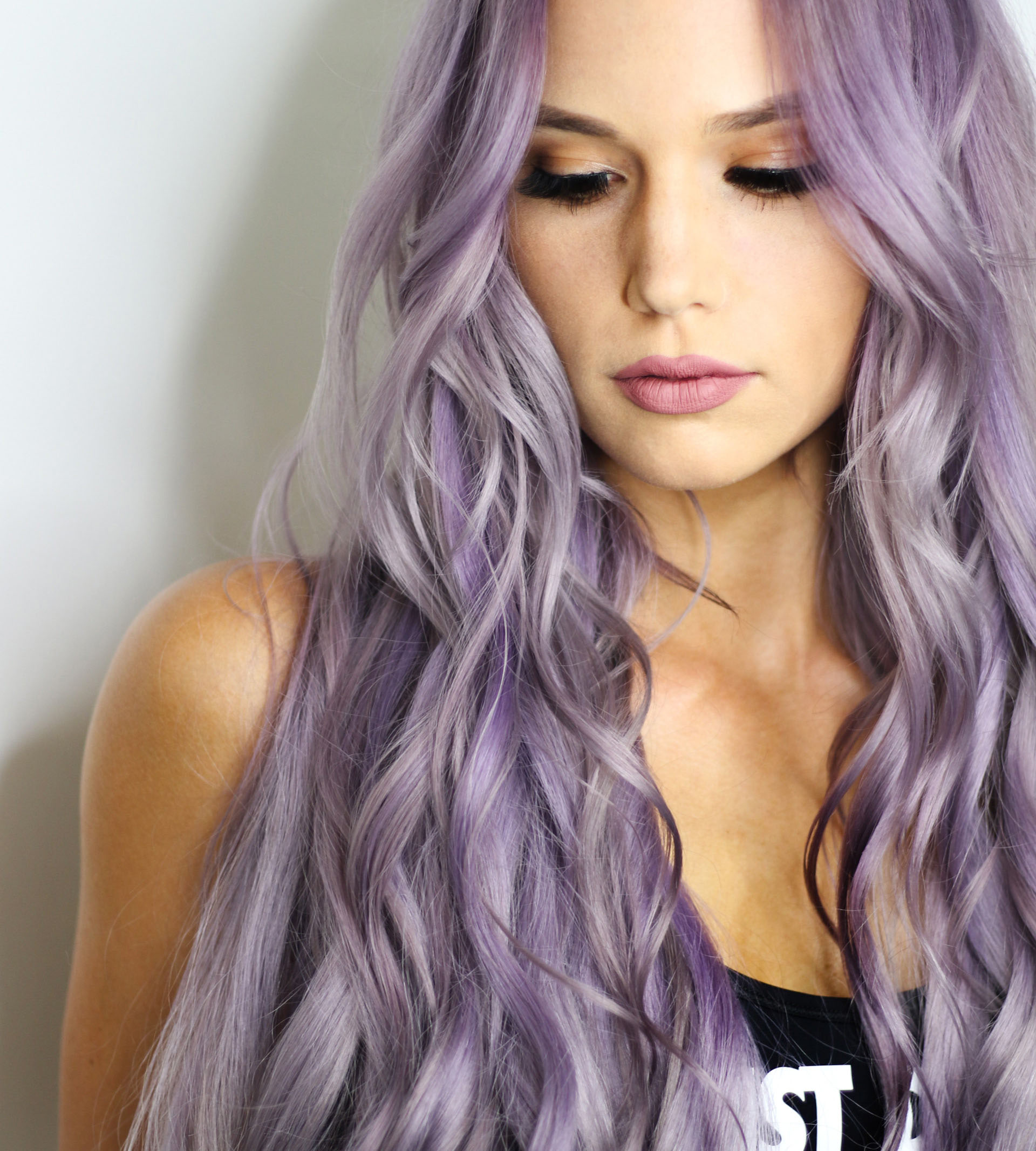 Woman with lavender colored hair